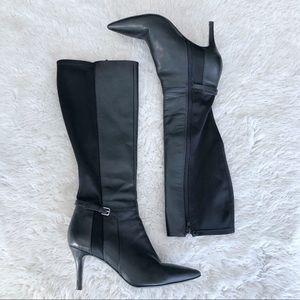 Nine West Black Leather Heeled Boots Size 8
